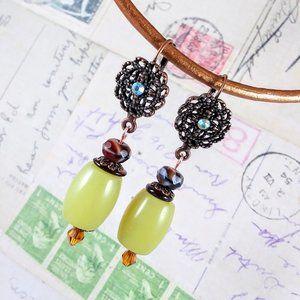 Olive Jade Aventurine in Copper Earrings